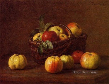 Still life Painting - Apples in a Basket on a Table Henri Fantin Latour still lifes